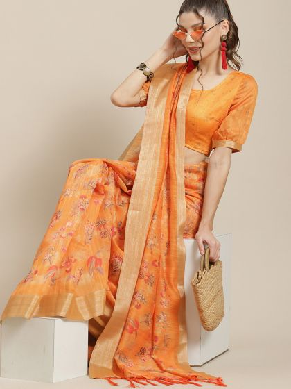 Orange & Red Floral Printed Saree With Blouse Piece